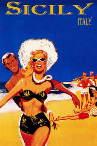 YOUTH-BEACH-FUN-SICILY-ITALY-SUN-VACATION-TRAVEL-PARADISE-VINTAGE-POSTER-REPRO