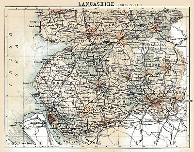 Map Of South England.An Enlarged Map Of The County Of Lancashire South England Original Dated1882 Ebay