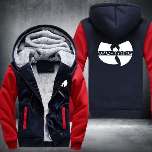 WU-TANG Print Mens Winter Fleece Hoodie Zipper Thicken Coat Jacket Sweatshirt