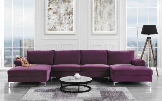 Modern Large Velvet U Shape Sectional Sofa Wide Double Chaise Lounge, Purple