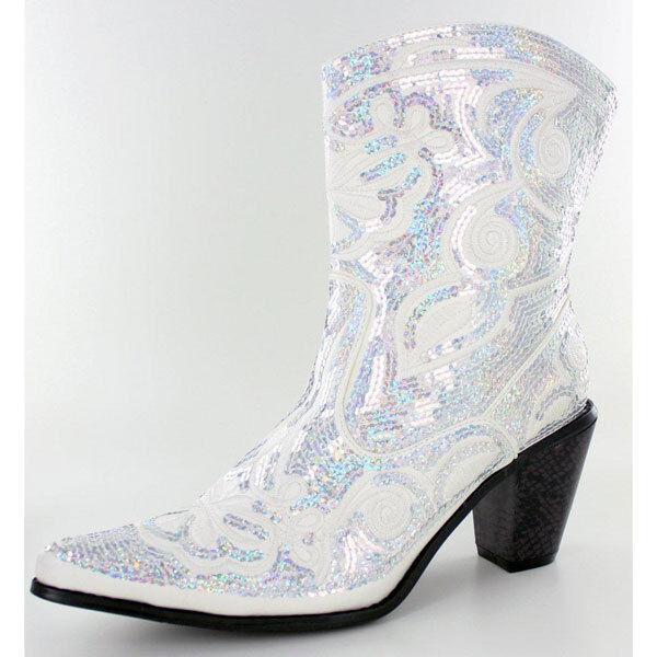 Sequin Bling White Short Cowboy Helen's Heart Boot, Size 7, 8,10