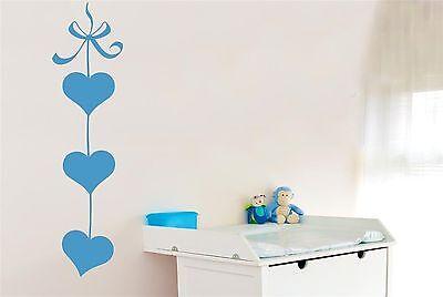 Three Hearts On Ribbon Wall Stickers Decals Art kids childrens