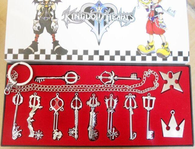 12pcs/ Kingdom Hearts II KEY BLADE Necklace Pendant+Keychain with chain Hot