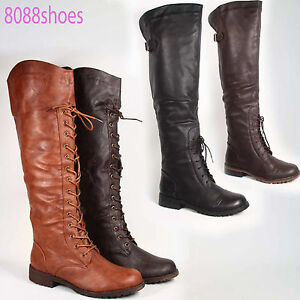 Fashion-Round-Toe-Low-Heel-Lace-Up-Knee-Thigh-High-Boot-Shoes-Black-Brown-Tan