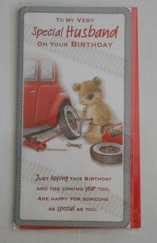 To my Very Special Husband Birthday Wishes Happy Birthday Card car mechanic bear