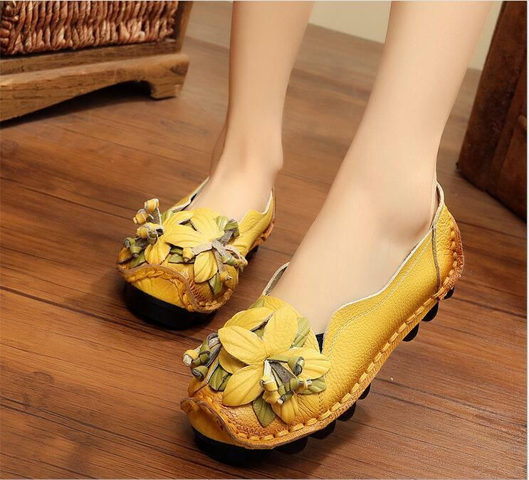 Fashion Leather Handmade Flower Loafers Soft Flat Womens Shoes Gift Mother Sbox1