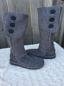 b6032594921 Details about UGG Classic Womens Size 8 Cardy Gray Three Button Sweater  Foldover Boots