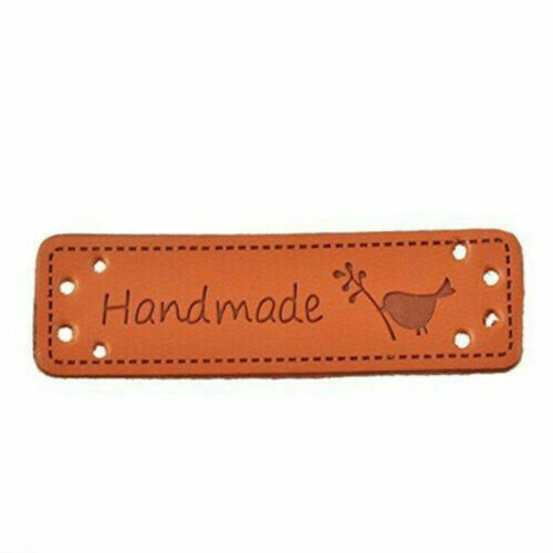 5pcs PU Leather Retro Brown Synthetic Handmade Label Tags DIY Sew Craft Patch