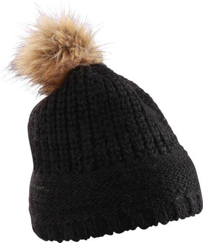 Damen Strickmütze Bommel Kunstfell Winter-Mütze Gestrickt Neverless®