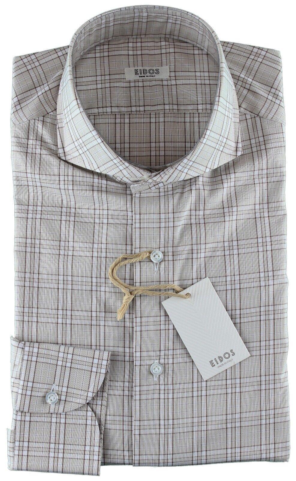 Nuevo con etiqueta Camisa Eidos por Isaia  Cuadros Beige blancoo Marrón Italia hecha a mano 43 17  barato