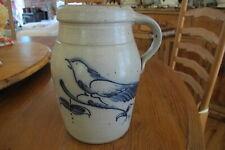 """Rowe Pottery Works Salt Glazed 8.5"""" Blue Bird Pitcher."""