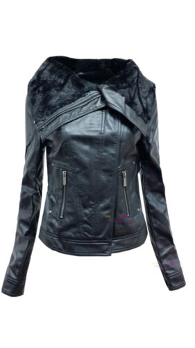 Womens ladies black faux PU fur leather zipped biker jacket lot size 8-16