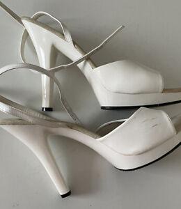 pleaser women high heel white sandals size 11