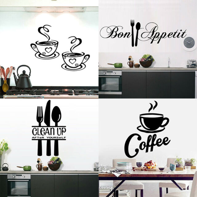 Large Coffee Vinyl Stickers 1pc Cuisine Kitchen Wall Sticker Poster For Sale Online Ebay