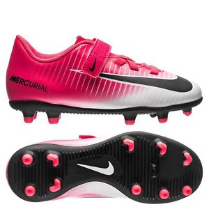 bbcf4c2727c8 Nike Mercurial Vortex III FG 17 Soccer Shoes White   Pink Preschool ...