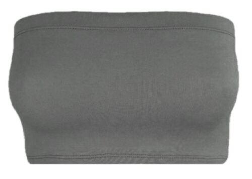 Ladies Strapless Crop Bra Boobtube Bandeau Vest Top Elasticated Stretch Mini Tee