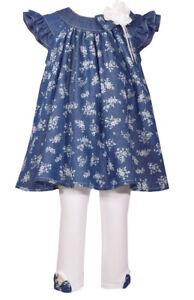 Bonnie Jean So Cute Printed Denim Dress and White Leggings Set,2T-6