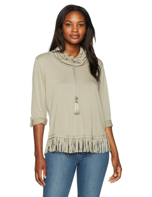 Ruby Rd Womens Cowl Neck French Terry Pullover with Fringe