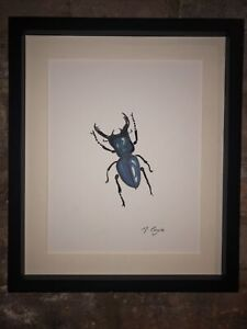 Blue Stag Beetle Original Signed Watercolour Painting, Gift