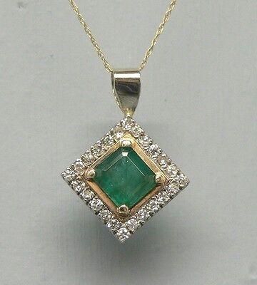 Bargain Priced 2 Carat Emerald and Diamond 14k Gold Pendant