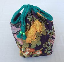 Japanese Kinchaku drawstring kimono bag, imported from Japan, purple (Q919)