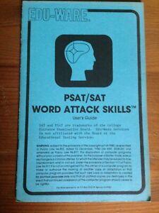 PSAT-SAT-Word-Attack-Skills-Edu-Ware-1980-Apple-2-Manual-Only