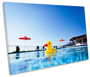 Details about Rubber Duck Swimming Pool CANVAS WALL ART Picture Print Single