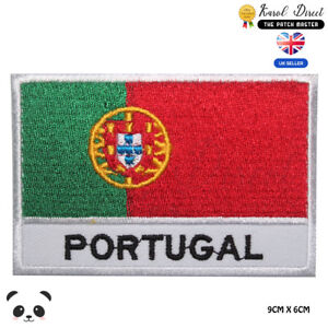 Portugal-National-Flag-With-Name-Embroidered-Iron-On-Sew-On-Patch-Badge