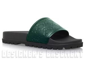 fbe122ed4 Image is loading GUCCI-mens-7G-green-GUCCISSIMA-Leather-slides-sandals-