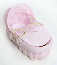 Beautiful Pink Broderie Anglaise Moses Basket Dressing, Covers, + Rods