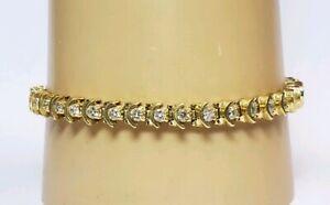 Details About Vintage 14k Yellow Gold 2 1 Carat Diamond Tennis Bracelet 7 4 Inches