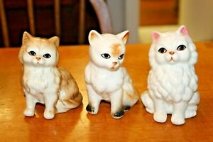 3 Vintage Cute Kitten Ornament Figurines Retro Bone China Ceramic Porcelain Cat