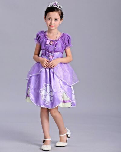 2018 Kids Gorgeous Sofia The First Costume Girls Princess Dress Gown 3-9 O62