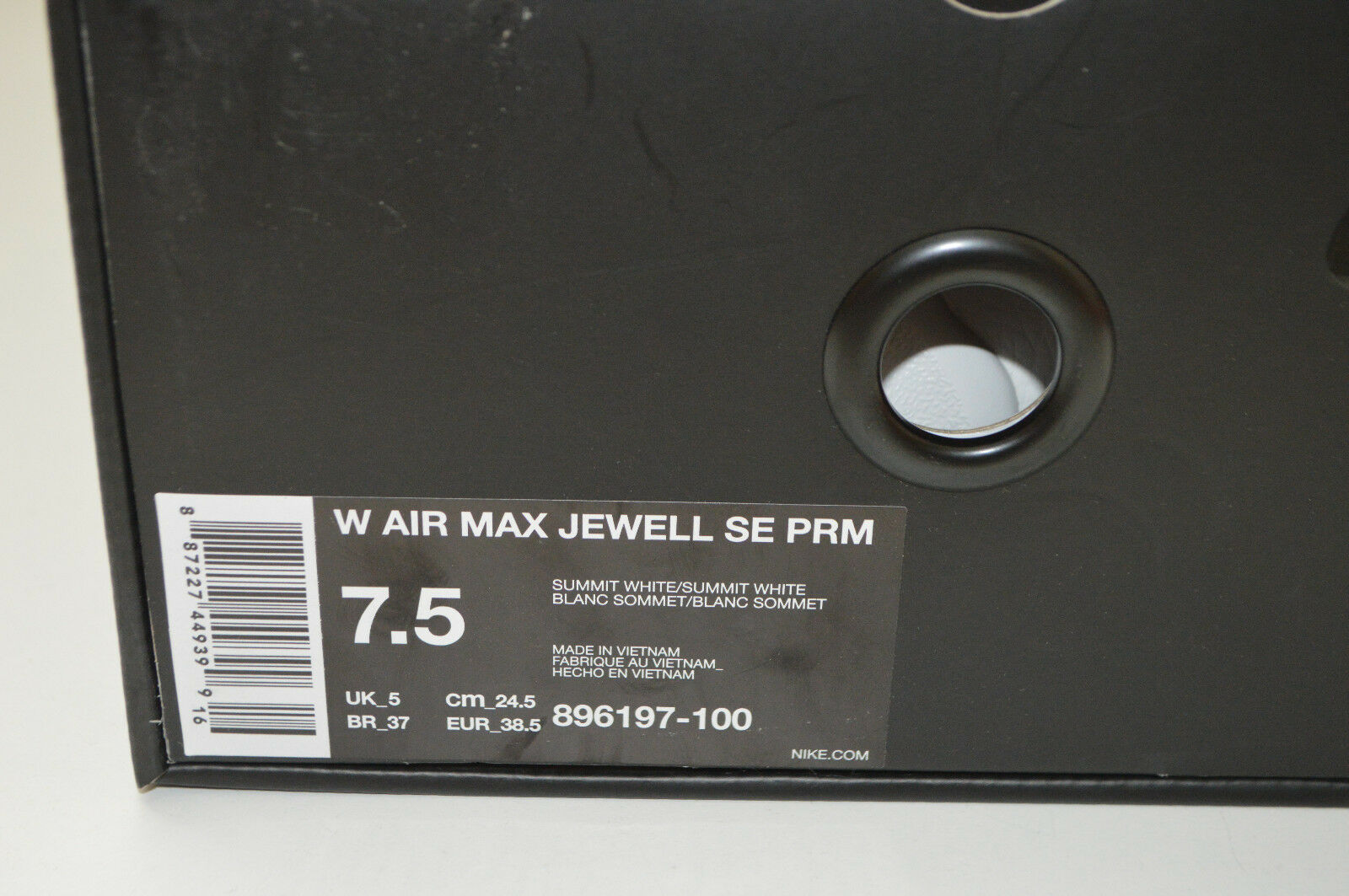 WO Hommes NIKE AIR MAX JEWELL EUR SE PRM SIZE 5 EUR JEWELL 38.5 gris SUMMIT WHITE/GOLD 2830cf