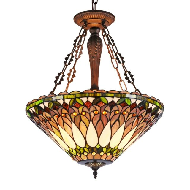 Reverse Hanging 3 Bulb Mission Stained Gl Ceiling Pendant Light Tiffany Style