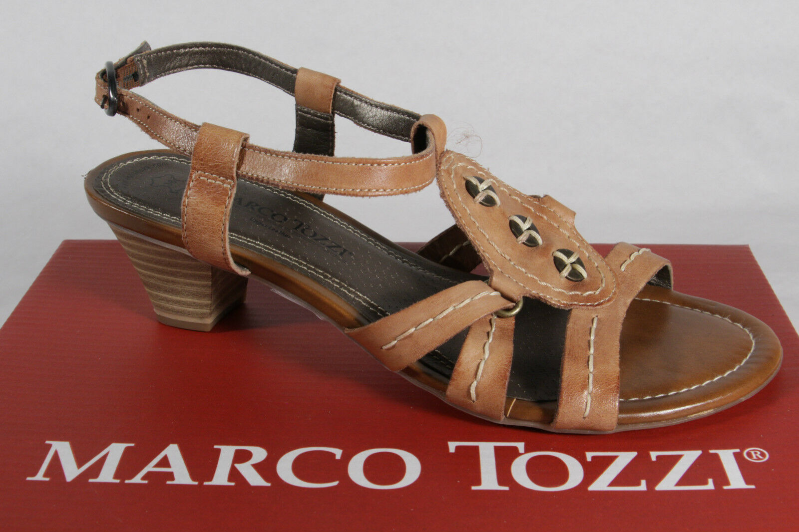 Marcotozzi Ladies Sandals Sneakers Genuine Leather Brown New