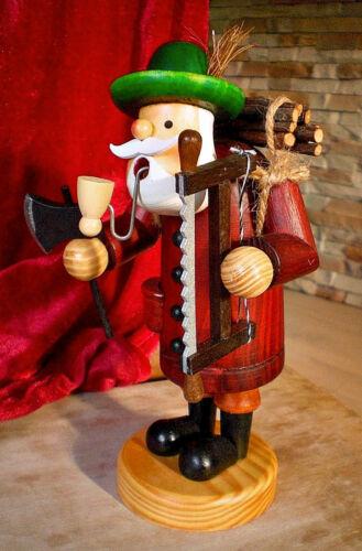 Säge Räucherfigur Rot #140 ❀  Räuchermännchen Holzfäller 19cm Waldarbeiter Axt