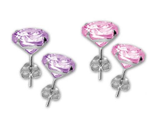 925 ECHT SILBER *** Große Zirkonia  Ohrstecker pink oder lila 8-10 mm