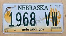 "NEBRASKA  BIRD VANITY LICENSE PLATE "" 1968 VW "" 68 VWBUG BUG BEETLE GERMAN BUGS"