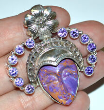 16.9g Carved Copper Purple Turquoise Face 925 Sterling Silver Pendant JJ1615