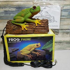 Vintage-Telemania-Croaking-TREE-FROG-TELEPHONE-on-Log-Push-Button-Phone