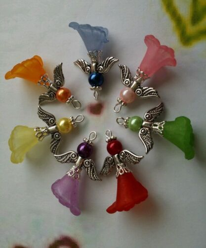 7 Pcs Beautiful Handcrafted Lucite Calla Lily Flower Angel Fairy Charms