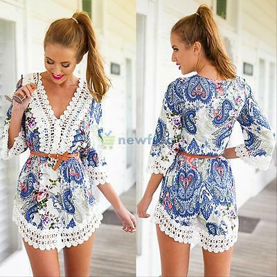 Summer Sexy Women's Long Sleeve Party Dress Evening Cocktail Casual Mini Dress