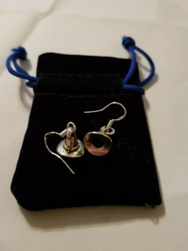 Witches hat Earrings 925 Sterling Silver Hooks Hallmarked in blue Velvet Pouch