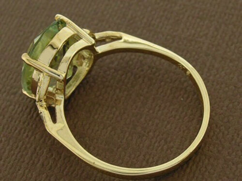 Details about  /R099 Genuine 9K Solid Gold Green Natural Amethyst /& Diamond Oval Solitaire Ring