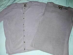 EUC-BANANA-REPUBLIC-womens-sz-SMALL-S-matching-gray-100-silk-sweater-shirt-lot