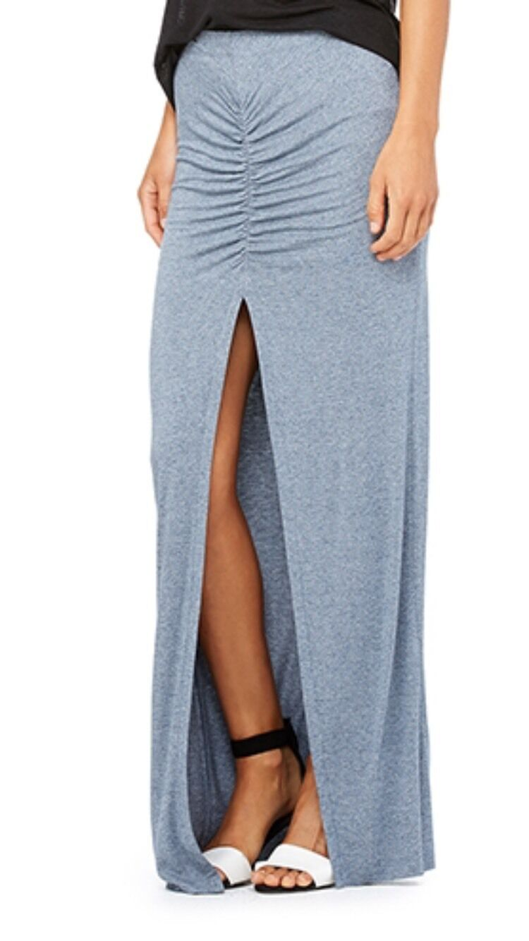 NWT  Sz. S BELLA LUXX Shirred Front Slit Maxi Column Skirt Indigo Static bluee