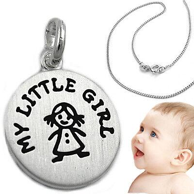 Baby Kinder Anhänger My Little Girl Mit Gravur Name Und Kette Echt Silber 925 Knitterfestigkeit