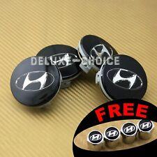 Set Of 4 Black Finish Chrome Logo Wheel Cap Hub Center For Hyundai 60mm 235