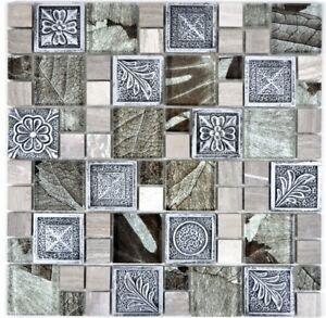 Mosaikfliesen Silber Resin Glas Stein Ornament Kuchenruckwand Wb88